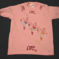 Hand Painted Tee Shirt, Dancing Pig Ballerinas, Short Sleeves, Jerzees, Size 6-8 Small