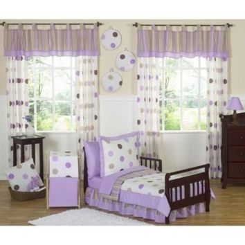 Sweet Jojo Designs Mod Dots Collection Toddler 5-Piece Bedding Set in Purple/Chocolate
