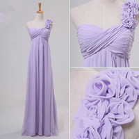 Elegant Long Lavender One Shoulder Bridesmaid Dresses Handmade Flower Prom Dresses Party Dresses 2014 Formal Party Evening Dresses