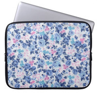 Vintage Blue Pink Cute Roses Floral Pattern Laptop Sleeve,Laptop Case,Laptop Bag 13'',Macbook Air 13'' Case,Ipad Mini Laptop Sleeve Gift