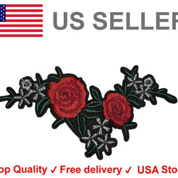 Floral Iron on / sew on Embroidery Patch Badge Red Roses Embroidered Flower Motif