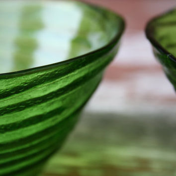 Vintage Set of Two (2) Textured Three Footed Green Glass Ice Cream Bowl, Relish and Candy Dish