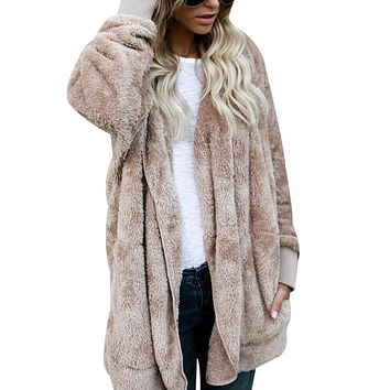 NIBESSER New Year Spring Faux Fur Teddy Bear Coat Jacket Women Fashion Open Stitch Hooded Coat Female Long Sleeve Fuzzy Jacket