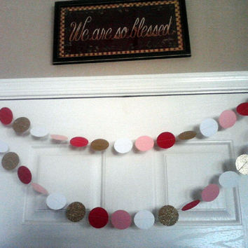Paper Circle Garland Pink Red White and Glitter Gold Valentine's Day Weddings Birthday Bridal or Baby Shower Reception Party Decoration