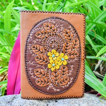 Unique Handmade Leather Book Cover - Handstiched Diary Cover - Leather Journal Cover -  Leather diary - Leather Crafts - Leather Book Diary
