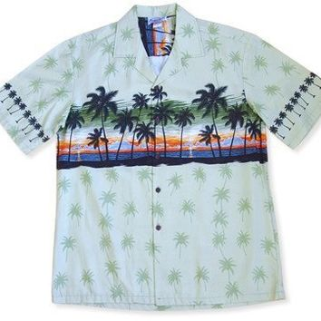 sunrise sage hawaiian border shirt