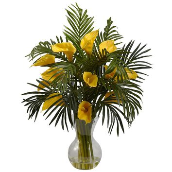Silk Flowers -Calla Lily And Palm Combo Arrangement Artificial Plant