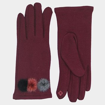 Solid Smart Pom Pom Touch Gloves (Click For More Colors)