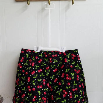 Cherries - Polka - dot - pinup - rockabilly - 50s - style - high - waist - shorts