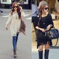 Women Oversized Batwing Tassel Knit Sweater Dress Loose Jumper Pullover Tops ONE SIZE 2 colors = 1920473988