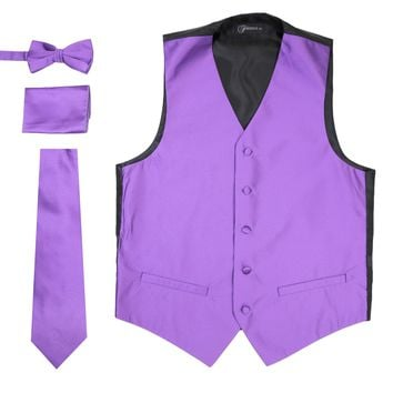 Ferrecci Mens Solid Purple Wedding Prom Grad Choir Band 4pc Vest Set