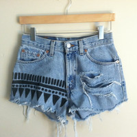 tribal print & distressed high-waisted cutoffs
