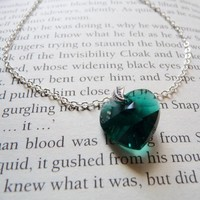 Slytherin emerald necklace in silver snape approved by littlesev