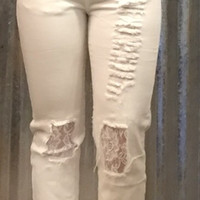White Kan Can distressed with lace women's jeans