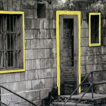 hand-colored photograph // hand-painted window and door frame/black-and-white background/photo art/vintage styled/wall decor/yellow/mentaZug