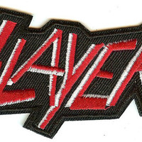 Slayer Iron-On Patch Red And White Letters Logo