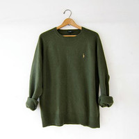 vintage army green sweater. slouchy wool sweater. wool pullover. boyfriend sweater