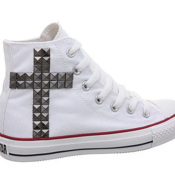 Studded Converse, Converse White High Top with Gunmetal Cross Pattern by CUSTOMDUO on ETSY