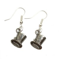 Sour Cherry Alice in Wonderland Mad Hatters Top Hat Earrings (Silver Plated, Low Nickel Ear Wires)