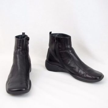 Paul Green Leather Ankle Boots Side Zip Flat Size US 7.5 UK 5.5  Black