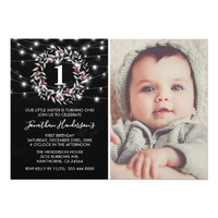 Christmas Wreath Photo First Birthday Party Card