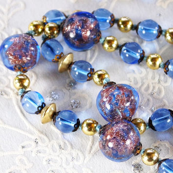 Vintage Beaded Necklace, Cobalt Blue, Venetian Lampwork Art Glass, Mauve Pink Glitter Spirals, 1940s, Romantic Wedding Bridal Jewelry