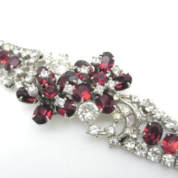 Christian Dior Bracelet - Kramer for Dior Ruby Red Rhinestone Jewelry Designer 1950s 60s