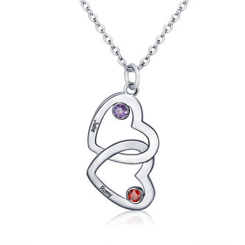 Sterling Silver 2 Hearts Birthstone Engraved Pendant Necklace