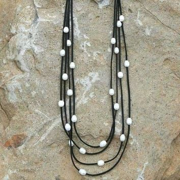 Leather & Pearl Strand Long Layer Necklace