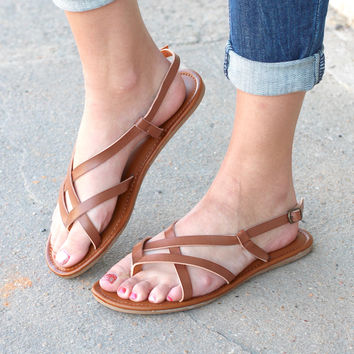 MIA: Cruise Strappy Sandals {Cognac}