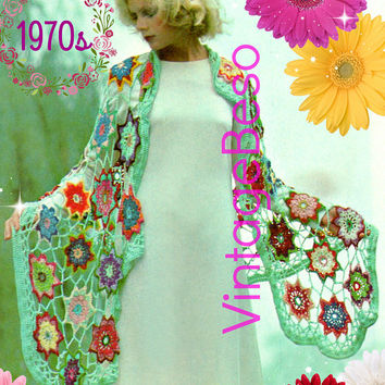 DIGITAL PATTERN • SHAWL Crochet Pattern • Ladies Bouquet Spring Shawl • 1970s Vintage Wrap • PdF Pattern • Staff Buster