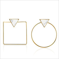 Gold Geo Square to Circle Triangle Stone Stud Earrings