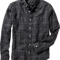 Old Navy Mens Slim Fit Patterned Flannel Shirts Size M - Dark gray