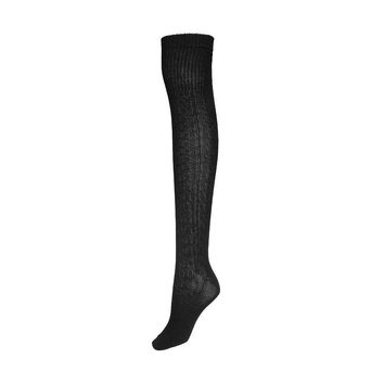 Black Over The Knee Rib Leg Hold Ups Tights