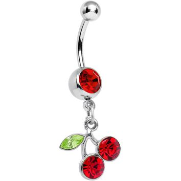 Ruby Red DANGLING CHERRY Belly Ring