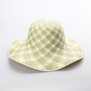 Paper Straw Wide Brim Sun Hat with Alternating Beige/White Pattern