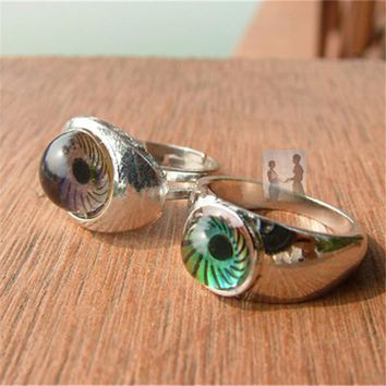 Lover's Fashion Jewelry  Magic Eye Shape Color Change Mood Ring Emotion Feeling Changeable Band Adjustable