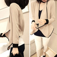 Women Asymmetric Pads Loose Long Sleeve Short Jacket Top Coat Apricot  Free Size