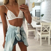 Intimates 2017 New Women Sexy Lace Bra Floral Sheer Spaghetti Strap BraCrop Top Blakc Sex Products Clothes Summer Style