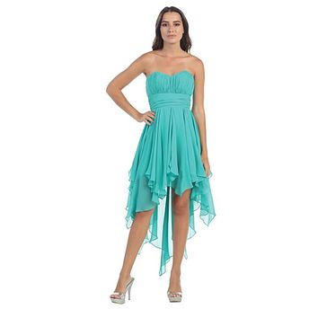 Multi Layer Chiffon Bridesmaid Dress Jade High Low Strapless