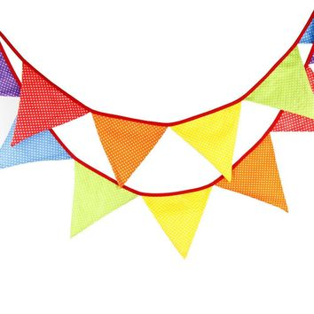 Fabric Bunting Banner Nursery Rainbow Flags Bunting, Photography Prop Cotton Fabric Banners  Boys or Girls Baby Shower Garland