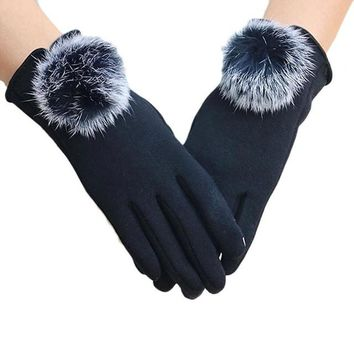Women Gloves Winter Ladies Cute Hir Ball Cotton Gloves Warm Wrist Hand Gloves Kadin Eldiven#B921