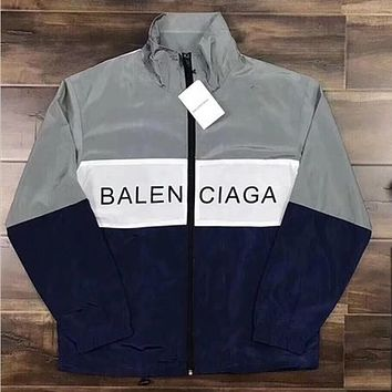 One-nice™ ''BALENCIAGA'' Women Men Fashion Zipper Cardigan Sweatshirt Jacket Coat Windbreaker Sportswear I