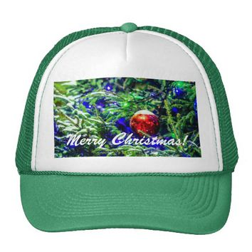 Green Christmas Tree Red Ball Trucker Hat