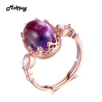 MoBuy MBRI022 Unique Oval Natural Gemstone Amethyst Ring 925 Sterling Silver Rose Gold Plated Adjustable Fine Jewelry For Women