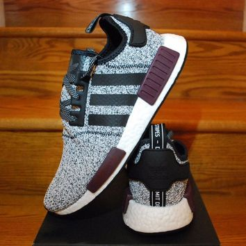 Sale Adidas NMD R1 Champs Exclusive Grey Burgundy BA7841 Boost Sport Running Shoes Classic Casual Shoes Sneakers
