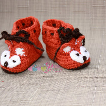 Baby Fox Booties, Crochet Baby Boots Baby Booties, Crochet Boots, Baby, Baby Shower Gift, Orange, Brown, White