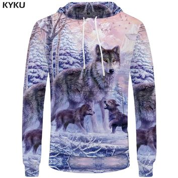 KYKU Brand Wolf Clothing Men Animal Pocket Family Hoodies Love Cool Hoddie Mens Print Sweatshirt Big Size 3D Funny Hoodies
