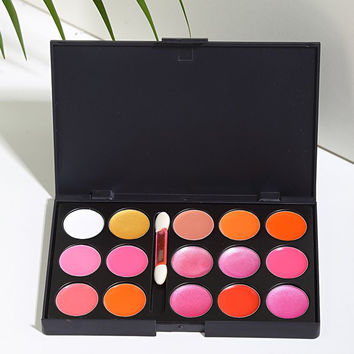 15 Colours Waterproof Lip Gloss Palette with Brush