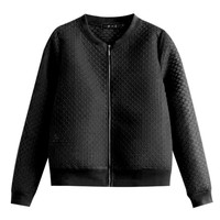 Black Grid Embroidered Zip Up Varsity Jacket
